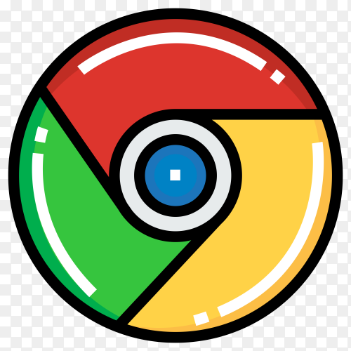 Google chrome logo in flat design Clipart PNG