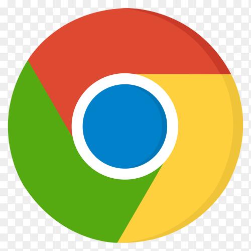 Google chrome logo in flat design on transparent PNG