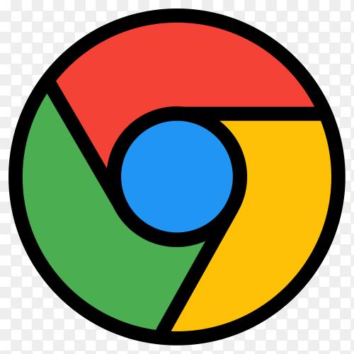Google chrome logo in flat design on transparent background PNG