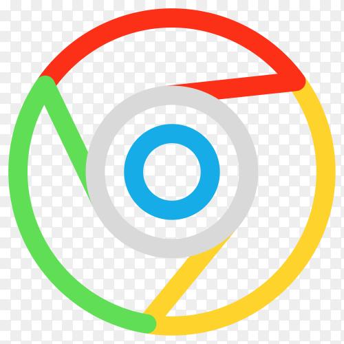 Google chrome logo in flat design premium vector PNG