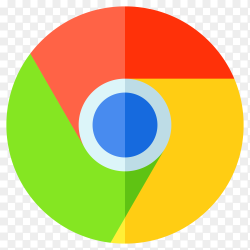 Google chrome logo in flat design vector PNG
