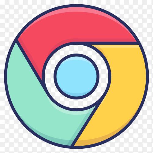Google chrome logo isolated on transparent background PNG