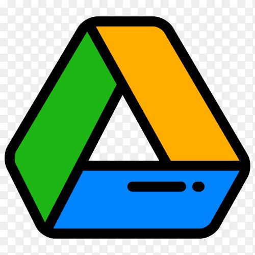 Google drive logo design on transparent background PNG