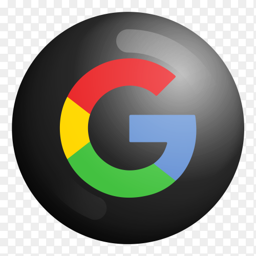 Google modern 3D icon on transparent PNG