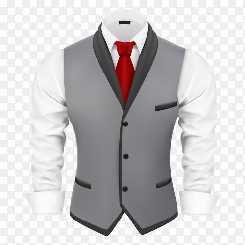 Gray men business suit on transparent background PNG