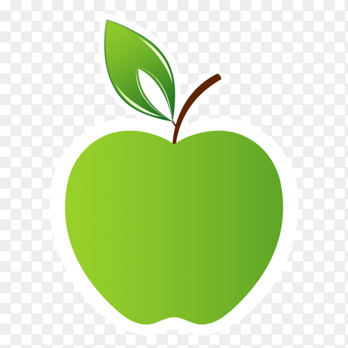 Green apple drawing on transparent background PNG