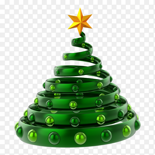 Green Christmas tree decorated on transparent background PNG