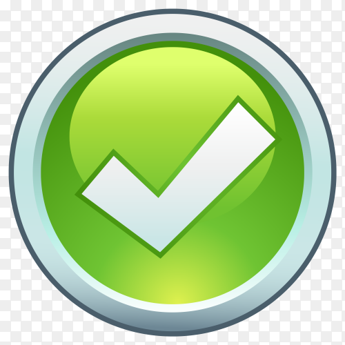 Green right check mark premium vector PNG