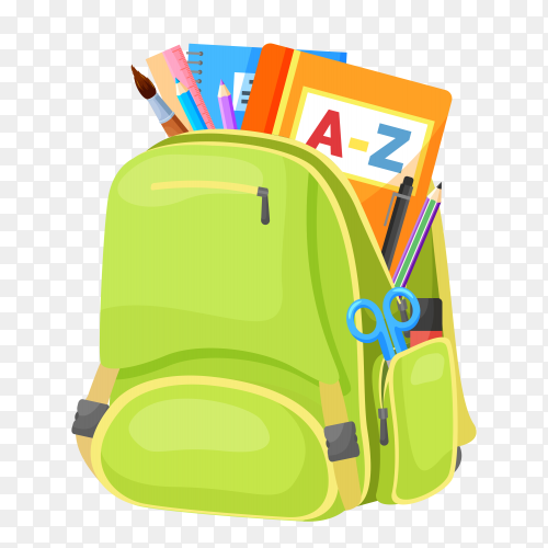 Green school bag with books on transparent background PNG
