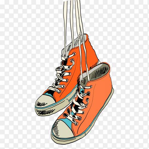 Gumshoes sketch hanging on transparent background PNG