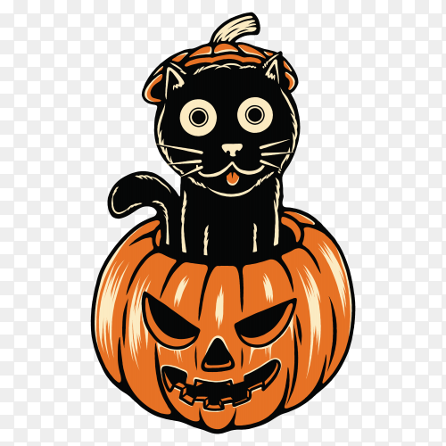 Halloween pumpkin with funny cat illustration on transparent background PNG