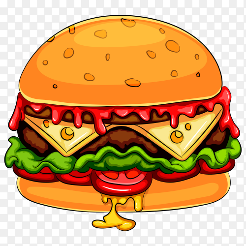 Hamburger cheeseburger cartoon character on transparent background PNG