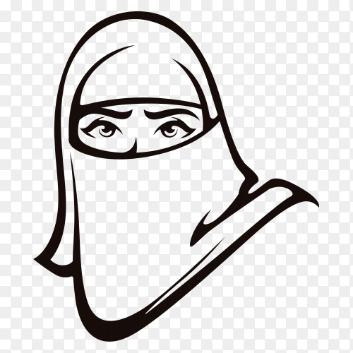 Hand drawing Arabic Muslim woman on transparent background PNG