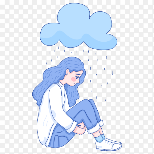 Hand drawing Loneliness girl sitting alone under rains on transparent background PNG