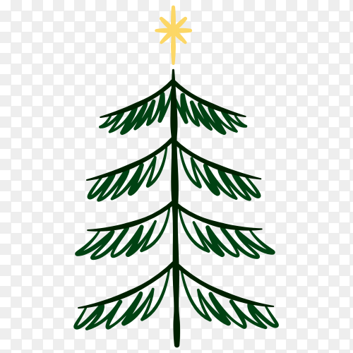 Hand drawing Christmas tree clipart PNG
