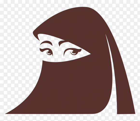 Hand drawing msulim woman in hijab on transparent PNG