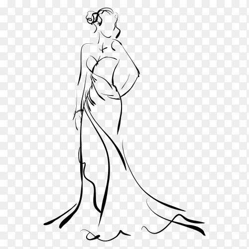 Hand drawing sketch fashion woman on transparent background PNG