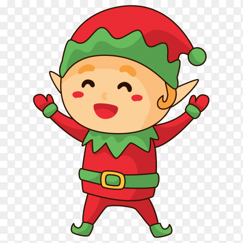Hand drawn  Boy with Santa Claus clothes on transparent PNG
