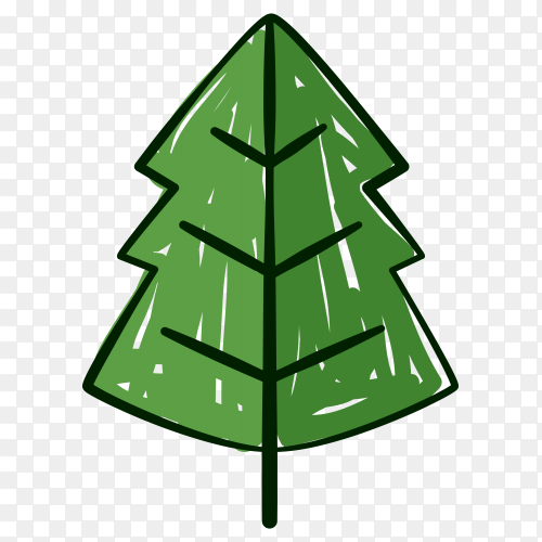 Hand drawn  green Christmas tree on transparent background PNG