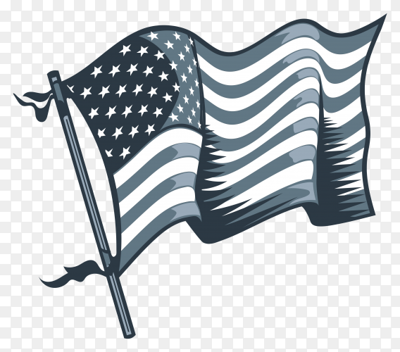 Hand drawn American flag premium vector PNG