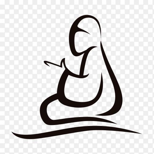 Hand drawn Arab Muslim woman praying on transparent PNG