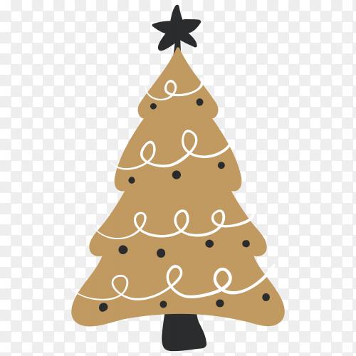 Hand drawn Brown Christmas tree premium vector PNG