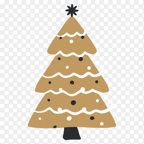 Hand drawn Brown Christmas tree on transparent background PNG