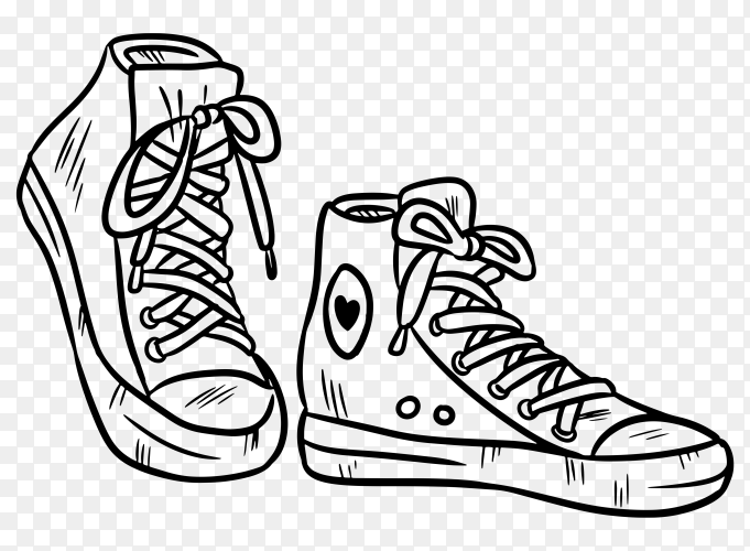 Hand drawn Pair of textile hipster sneakers with rubber toe premium vector PNG