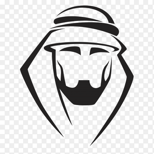 Hand drawn arabic man on transparent background PNG