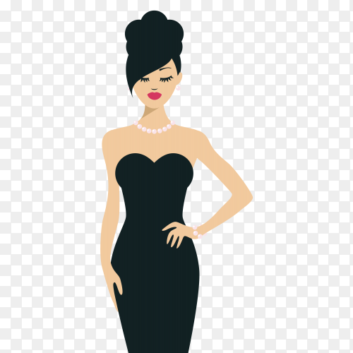 Hand drawn beautiful woman wearing black dress premium vector PNG
