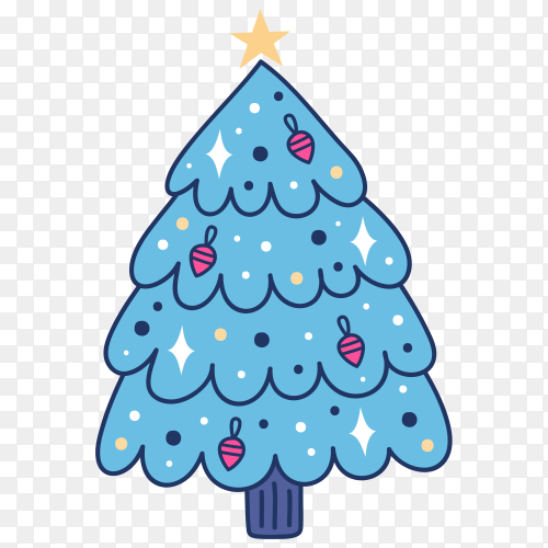 Hand drawn blue Christmas tree on transparent PNG