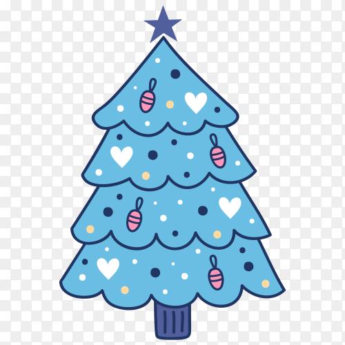 Hand drawn blue Christmas tree premium vector PNG