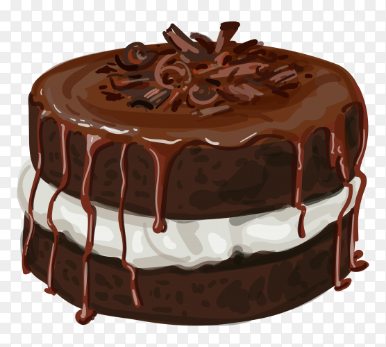 Hand drawn chocolate cake on transparent background PNG