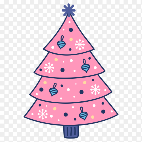Hand drawn Christmas tree premium vector PNG