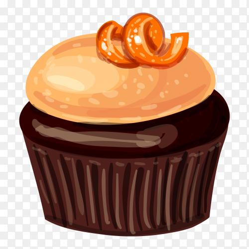 Hand drawn cupcake illustration premium vector PNG