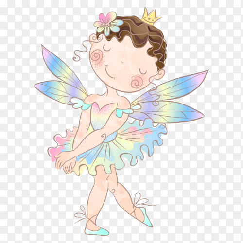 Hand drawn cute ballerina girl on transparent background PNG