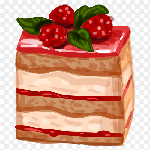 Hand drawn delicious cake illustration on transparent background PNG