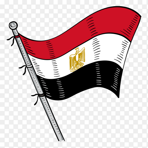 Hand drawn Egyptian flag composition on transparent background PNG