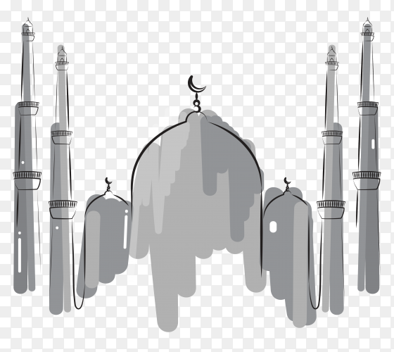 Hand drawn mosque illustration on transparent background PNG
