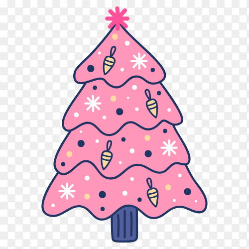 Hand drawn pink Christmas tree on transparent background PNG