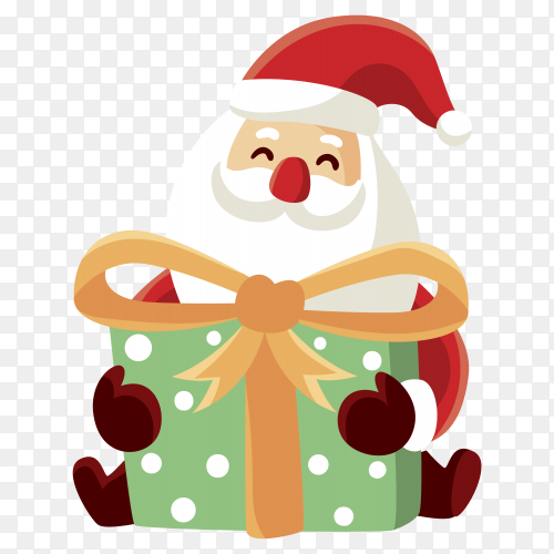 Hand drawn Santa Claus character on transparent PNG