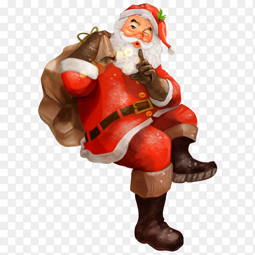 Hand drawn Santa Claus Christmas on transparent background PNG