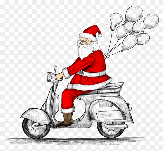Hand drawn Santa Claus on riding a scooter with balloons premium vector PNG