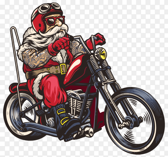 Hand drawn Santa Claus riding a chopper motorcycle on transparent background PNG