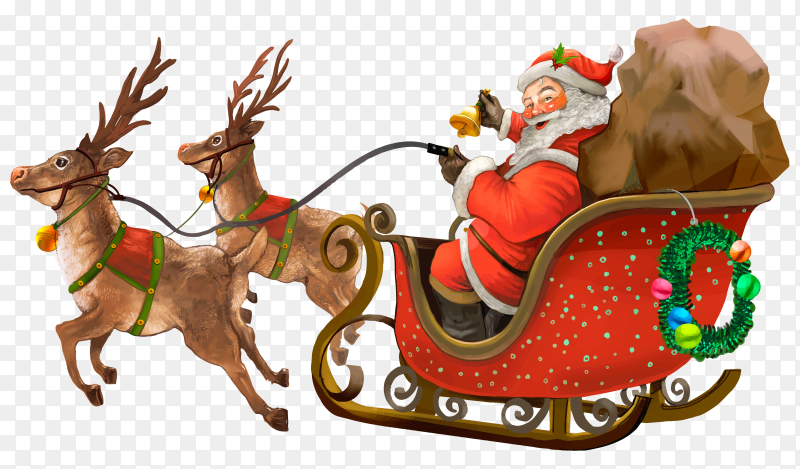 Hand drawn Santa Claus riding a sleigh delivering presents on transparent background PNG