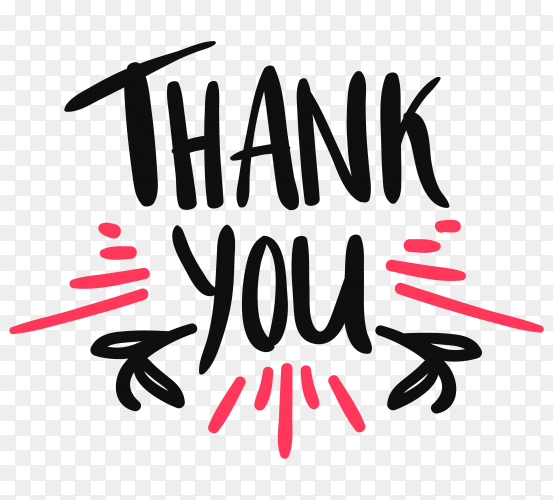 Hand drawn thank you on transparent background PNG