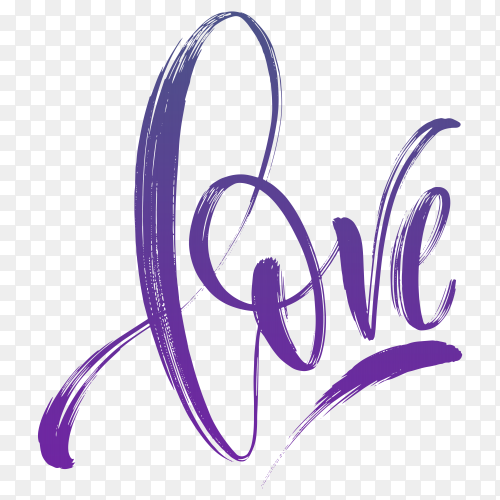 Hand lettering love word illustration on transparent background PNG