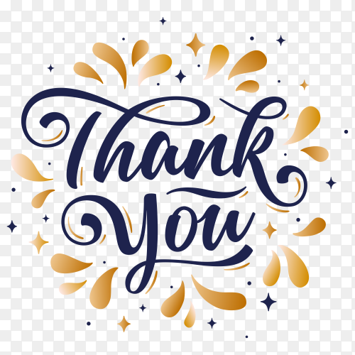 Hand lettering thank you with decorative golden graphic on transparent background PNG
