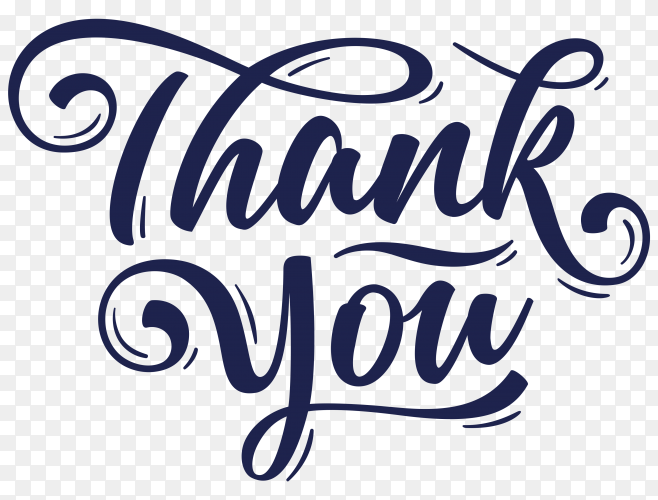 Hand lettering thank you with decorative graphic Clipart PNG