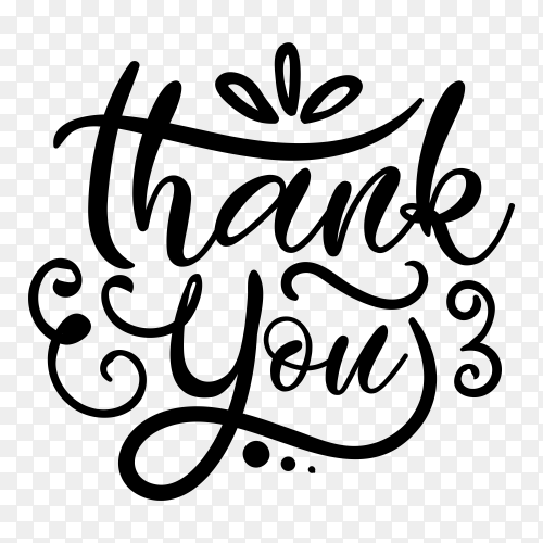Hand lettering thank you with decorative graphic on transparent background PNG